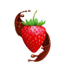 strawberry in chocolate liquid splash realistic vector image