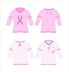 t-shirts with pink ribbon vector image vector image
