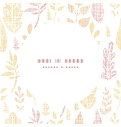 Textile textured fall leaves circle frame seamless vector image vector image