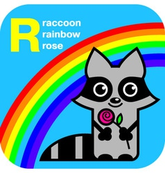 ABC raccoon rainbow rose vector image