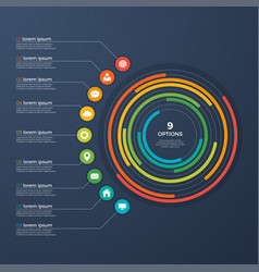 presentation infographic circle chart 9 options vector image