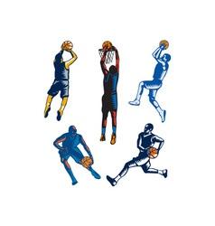 Basketball Woodcut Collection vector image vector image