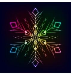 Clorful shiny snowflake on dark background vector image