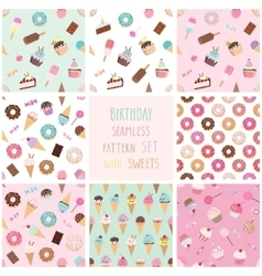 Cute seamless pattern set with different sweets vector image vector image