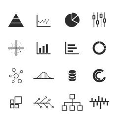 data chart diagram icon set vector image