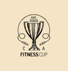 fitness logo hand sketched athletic cup vector image vector image