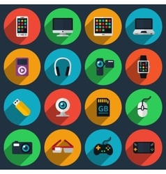 Gadget flat icons vector image vector image