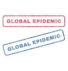Global epidemic textile stamps vector