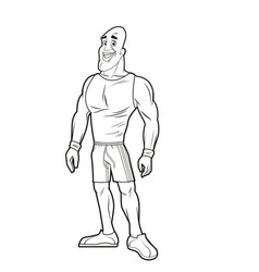 man strong muscle bodybuilding sport image line vector image vector image