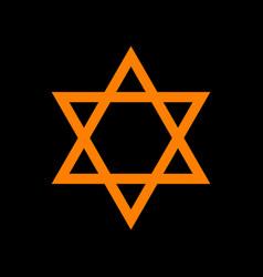 Shield magen david star symbol of israel orange vector