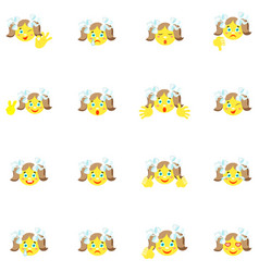 smilies girl with different emotions and gestures vector image