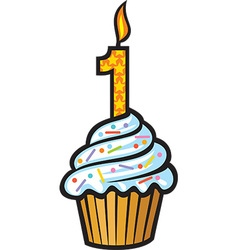 1st Birthday Cupcake vector image vector image