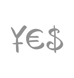 currency symbols for Yen Euro and US Dollar vector image