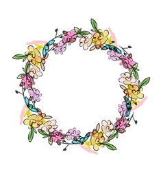 Floral wreath sketch for your design vector image vector image