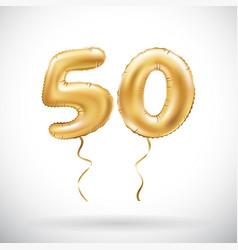 golden number 50 fifty metallic balloon party vector image vector image