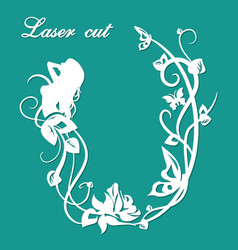 laser cut forest nymph vector image