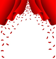 Red ribbon fall from red curtain on white vector image vector image