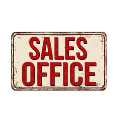 sales office vintage rusty metal sign vector image vector image