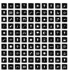 100 light icons set grunge style vector