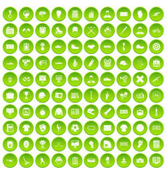 100 mens team icons set green circle vector