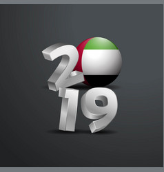 2019 grey typography with uae flag happy new year vector