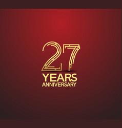 27 years golden anniversary logotype vector