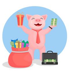 a pig in a tie in one hand holds a gift in the oth vector image