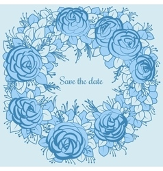 A wreath of blue roses to desing wedding vector image
