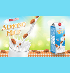almond milk with splash and seeds isolated on vector image