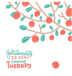 apples on tree branch summer and autumn flat vector image