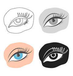 Applied mascara icon in cartoon style isolated on vector
