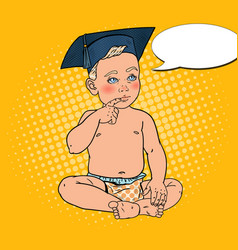 Baby boy in bachelor cap pop art vector