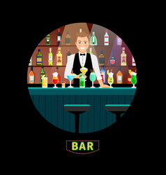 Bartender with luxury alcohol interior bar vector