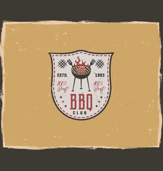 Bbq club typography poster template in retro old vector