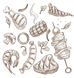 Bbq food meat and vegetables or seafood isolated vector