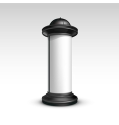 Black White Stand Pillar for Outdoor Advertising vector image