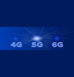 Blue banner 4g 5g 6g global high speed network vector