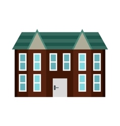 Brown two storey house icon flat style vector image