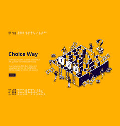business men choice way isometric landing page vector image