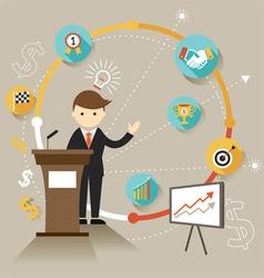 Businessman show success achievement presentation vector