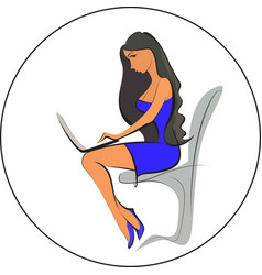 businesswoman in the office works on notebook vector image