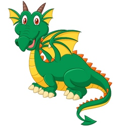 Cartoon happy green dragon vector image