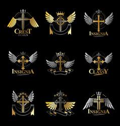 Christian crosses emblems set heraldic coat of vector