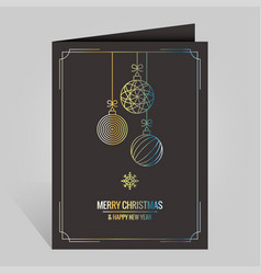 Christmas card with vintage golden xmas balls on vector