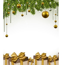 Christmas frame with fir branches and balls vector