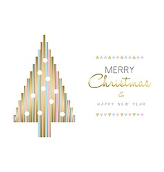 Christmas tree and new year design in gold color vector image