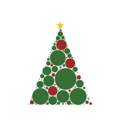 christmas tree circle style vector image