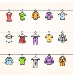 Clothing icons set on hanger vector
