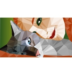 Colorful low-poly portrait of laying cat and face vector