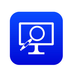 Computer monitor magnifying glass icon digital vector